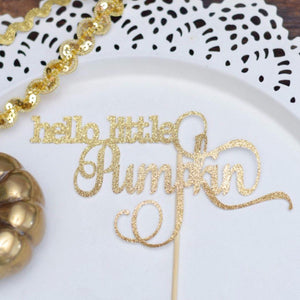 Hello Little Pumpkin gold sparkle glitter cake topper