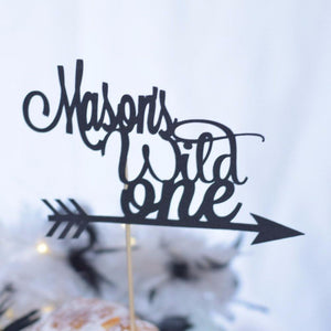 Mason's Wild One black sparkle cake topper with arrow