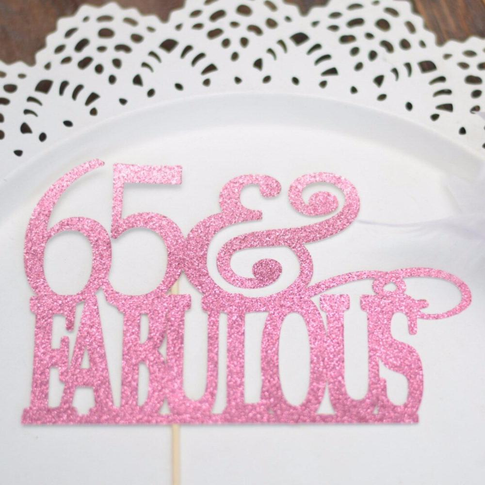65 Fabulous Pink Sparkle Glitter Cake Topper On White Plate Background