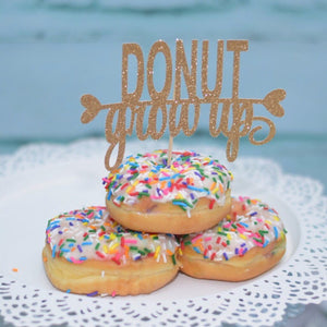 Donut grow up gold sparkle cake or donut topper on three sprinkle topping donuts