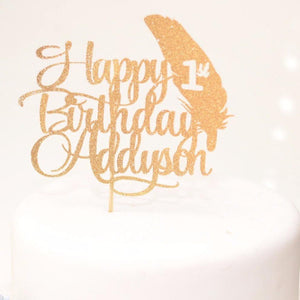 Happy birthday Addyson 1st birthday glitter gold cake topper