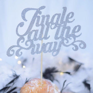 Jingle All The way silver card stock cake topper
