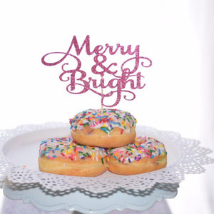 Merry and Bright pink sparkle glitter cake topper in three donuts