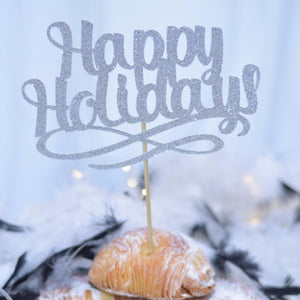 Happy Holidays lavender cake topper in a pastry