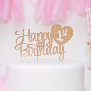 Happy 1st birthday with heart details in gold sparkle