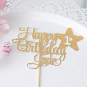Happy 1st birthday Jade glittery sparkly cake topper on white background