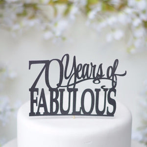70 years of fabulous delicate and bold black sparkle cake topper