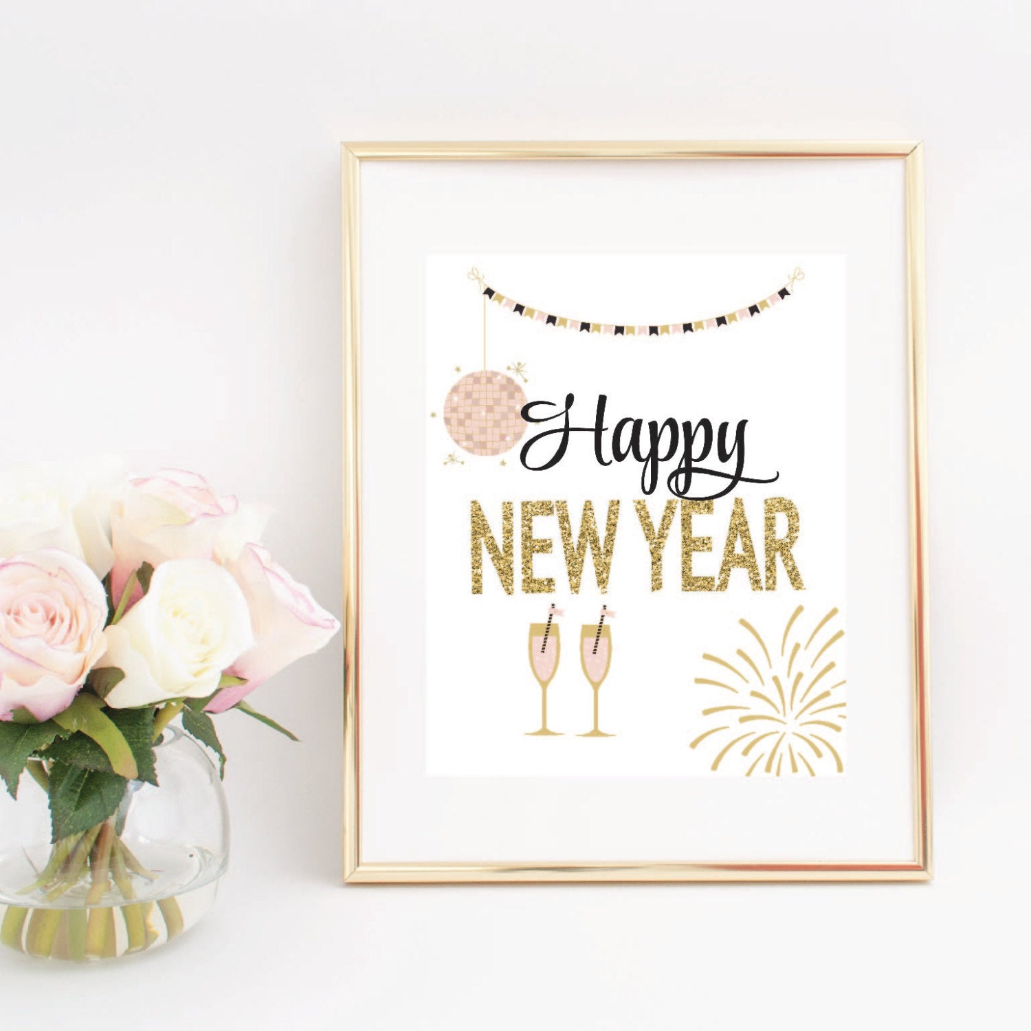 happy new year with gold and pink champagne glasses fireworks and string lights digital download