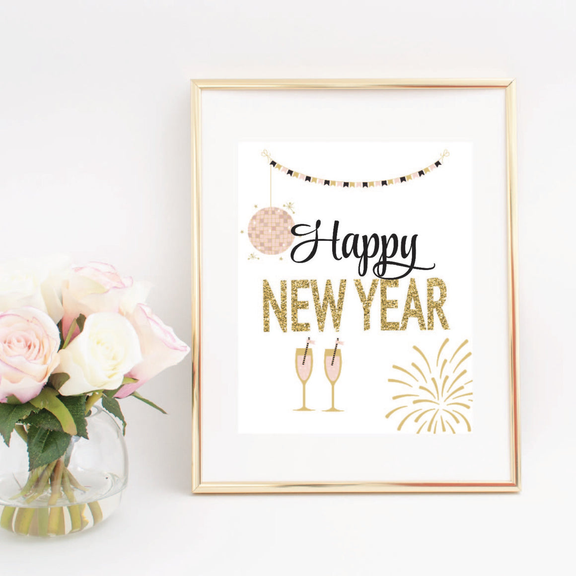 Happy New Year with gold and pink champagne glasses, fireworks and string lights digital download in gold frame