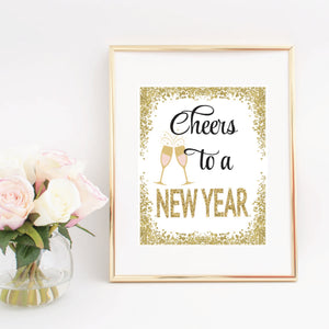 Cheers to a new year gold glitter digital download in a gold frame
