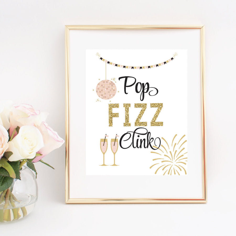 Pop fizz clink gold sparkle digital download printable design in gold frame