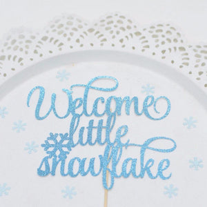 Welcome Little Snowflake blue teal sparkle cake topper with snowflake detail