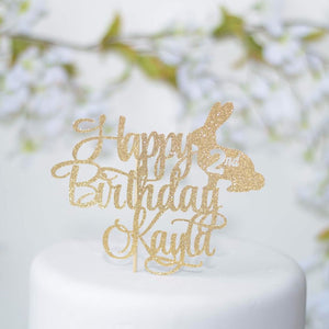 Happy Birthday Kayla 2nd gold glitter sparkle cake topper with bunny details