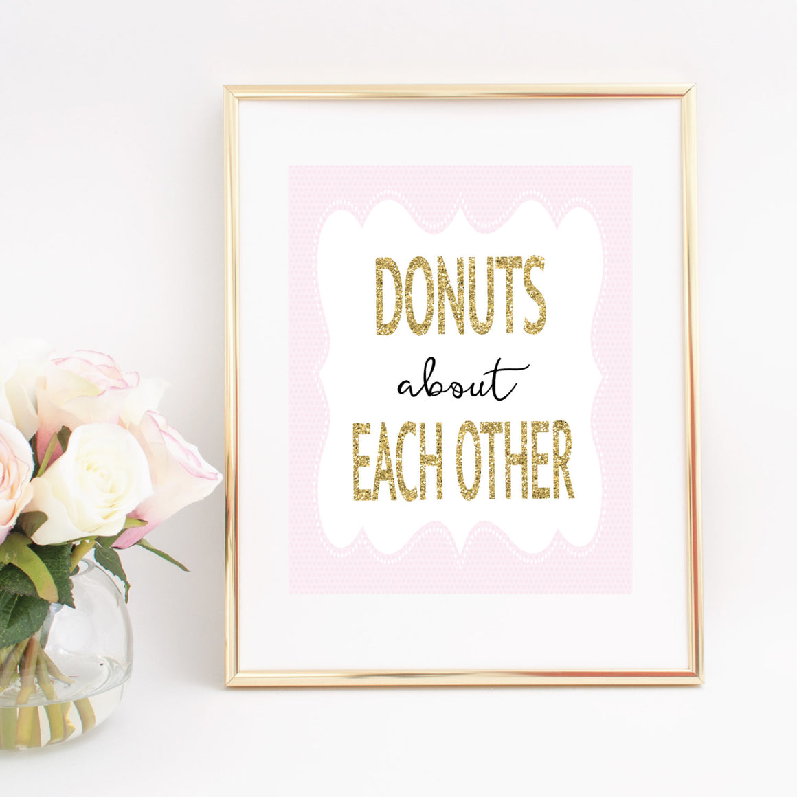 Donuts about each other digital download printable image in gold frame