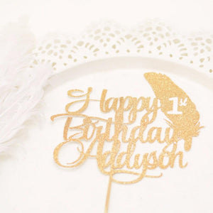 Happy 1st birthday Addyson gold glitter cake topper