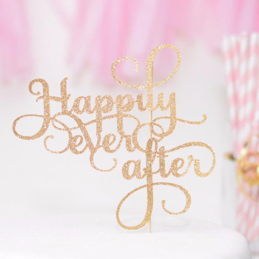 Happily Ever After gold sparkle cake topper