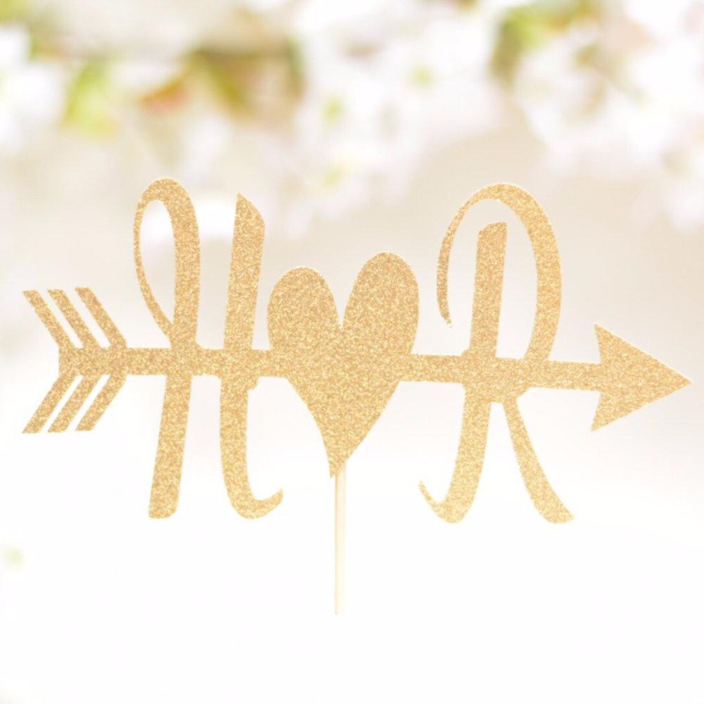 H hearts R gold sparkle arrow cake topper