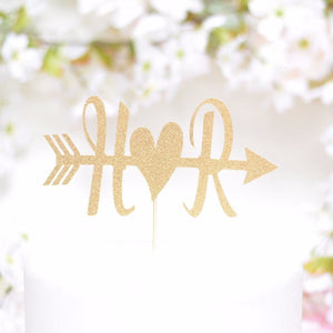 H and R heart and arrow detail gold glitter cake topper