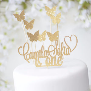 Camila Sophia is one and butterfly gold sparkle cake topper