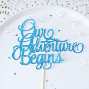 Our Adventure Begins blue and teal sparkle glitter cake toppers