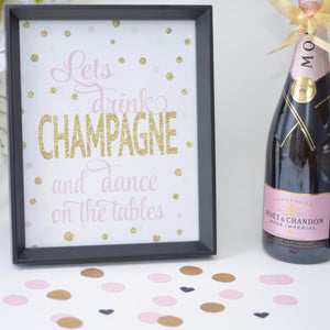 Time to drink champagne and dance on the tables printable download in black frame with champagne bottle