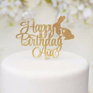 Happy birthday Ava bunny 1st birthday gold glitter sparkle cake topper