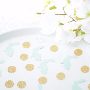 Mint bunny and gold circle sparkle confetti