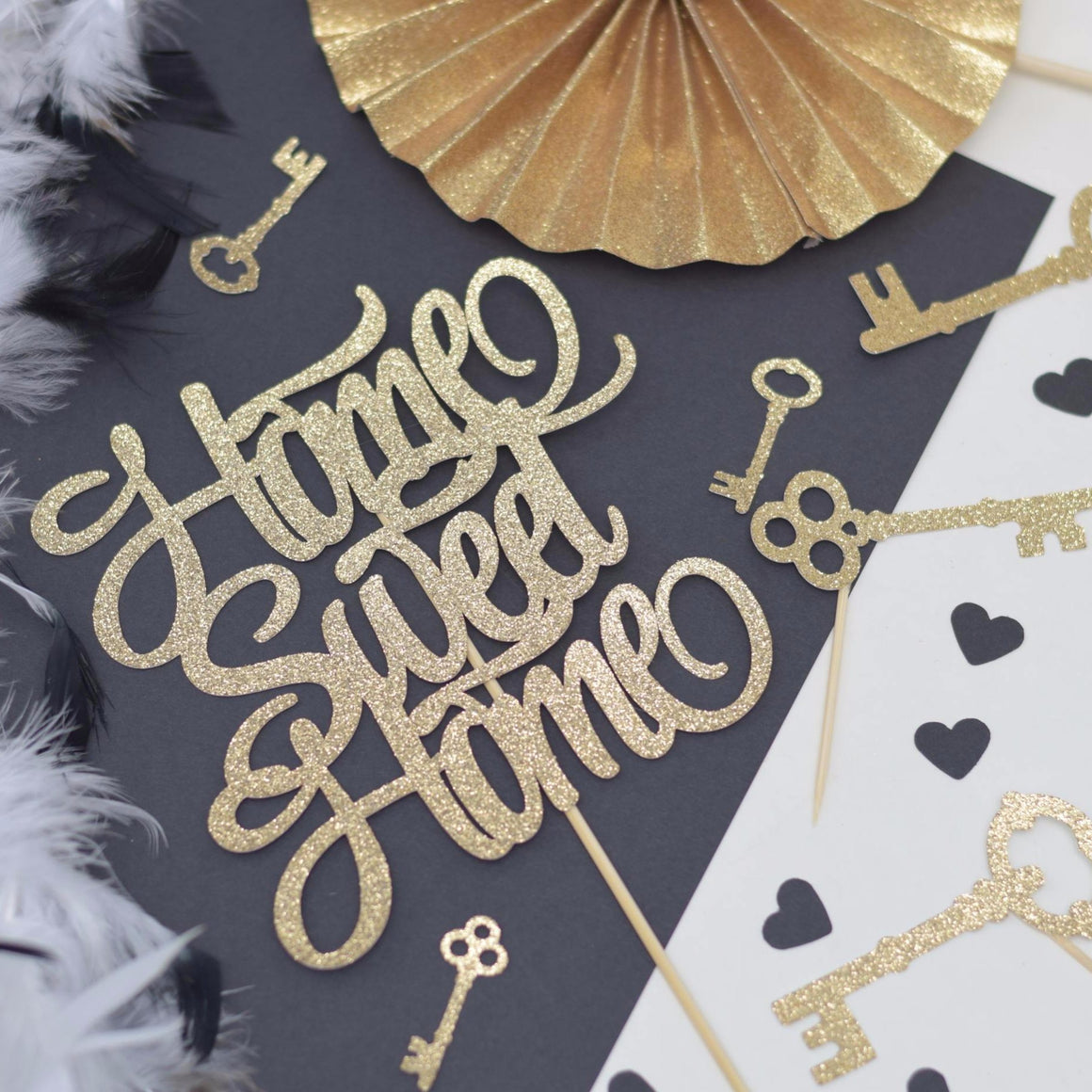 Home Sweet Home gold sparkle cake topper with gold key decorations