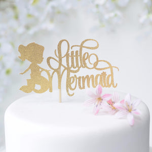 Little Mermaid gold sparkly glitter cake topper