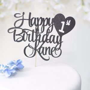 Happy 1st birthday Kane black sparkle glitter cake topper
