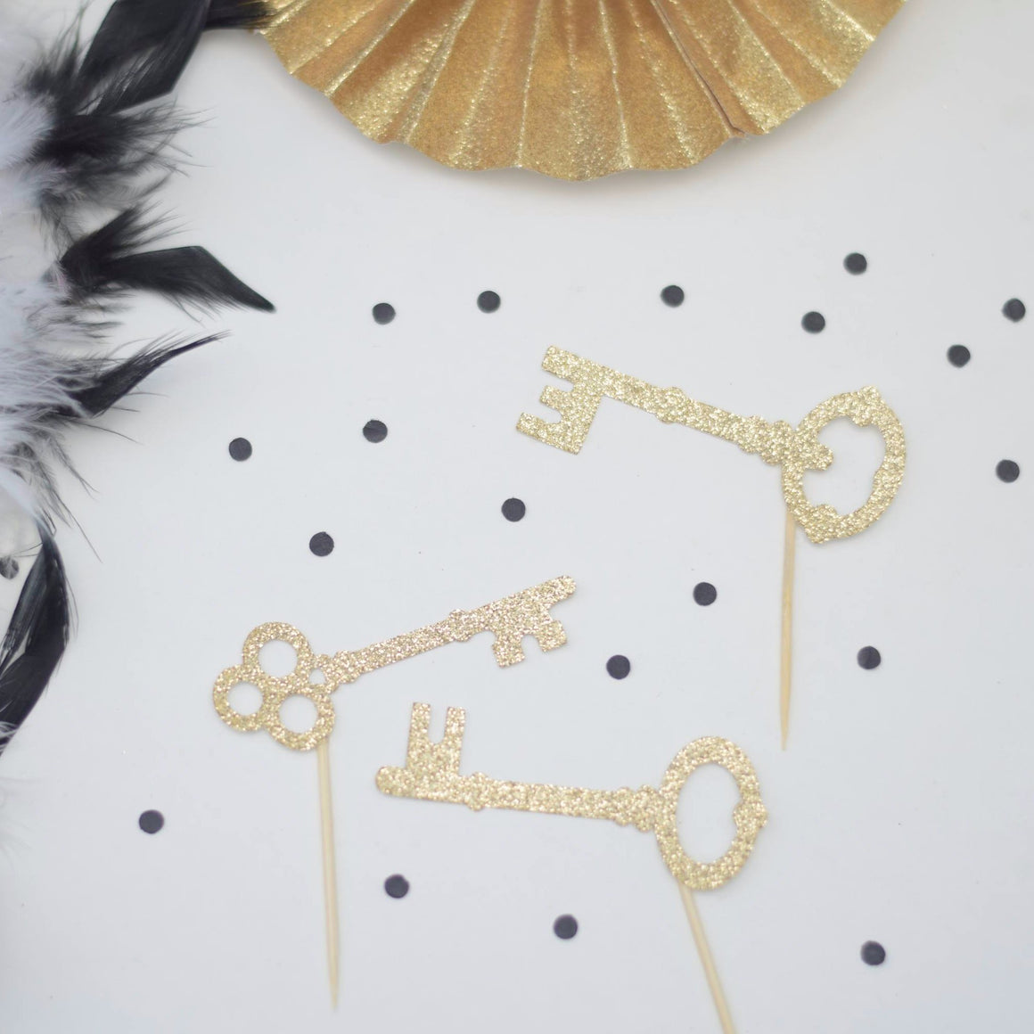 gold sparkle key cupcake toppers