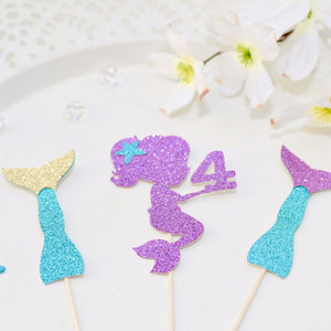 teal, gold, purple sparkle mermaid and mermaid tail cupcake toppers