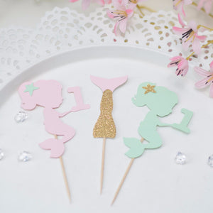 mint, gold and sugar pink mermaid and mermaid tail cupcake toppers