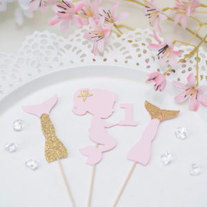 sugar pink and gold mermaid cupcake toppers