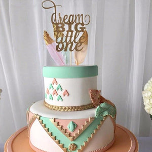 Dream big little one on teal and pink cake