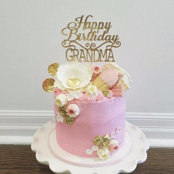 Happy Birthday Grandma sparkly gold cake topper