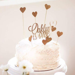 Oakley is One gold heart sparkle cake topper