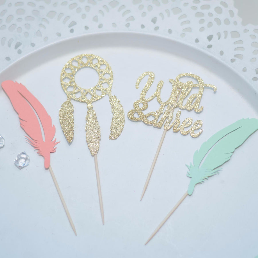 wild one cupcake toppers in mint and coral