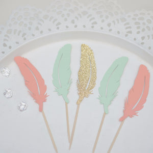 mint, coral and sparkly gold feather cupcake toppers