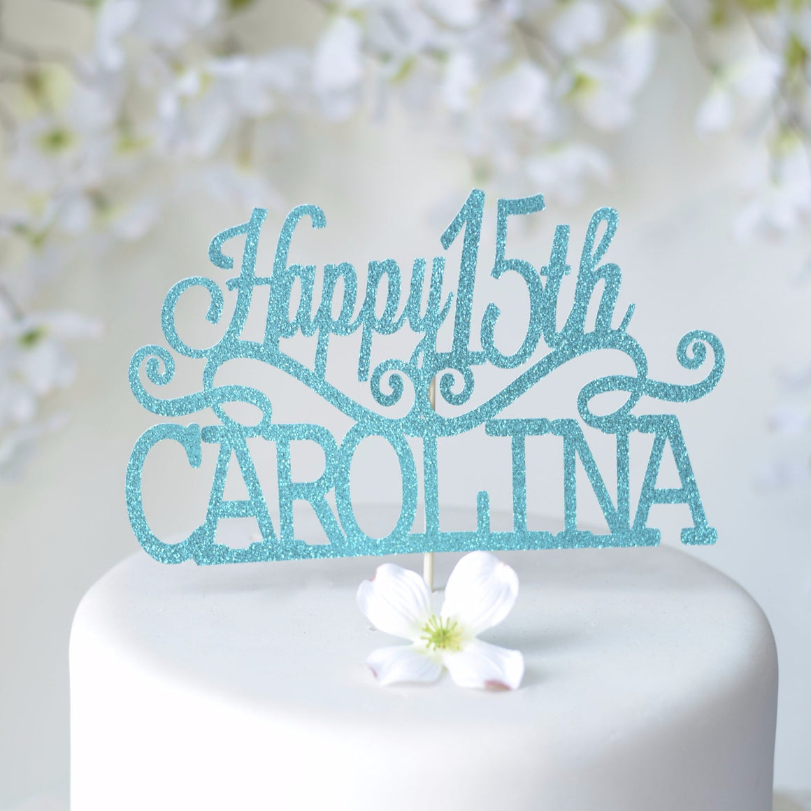 Happy 15th Carolina blue sparkle glitter cake topper