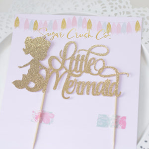 Little Mermaid Sugar Crush Co gold sparkly cake topper