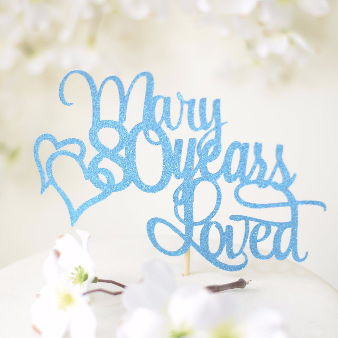 Mary 80 years loved blue teal sparkle glitter cake topper with two hearts intertwined