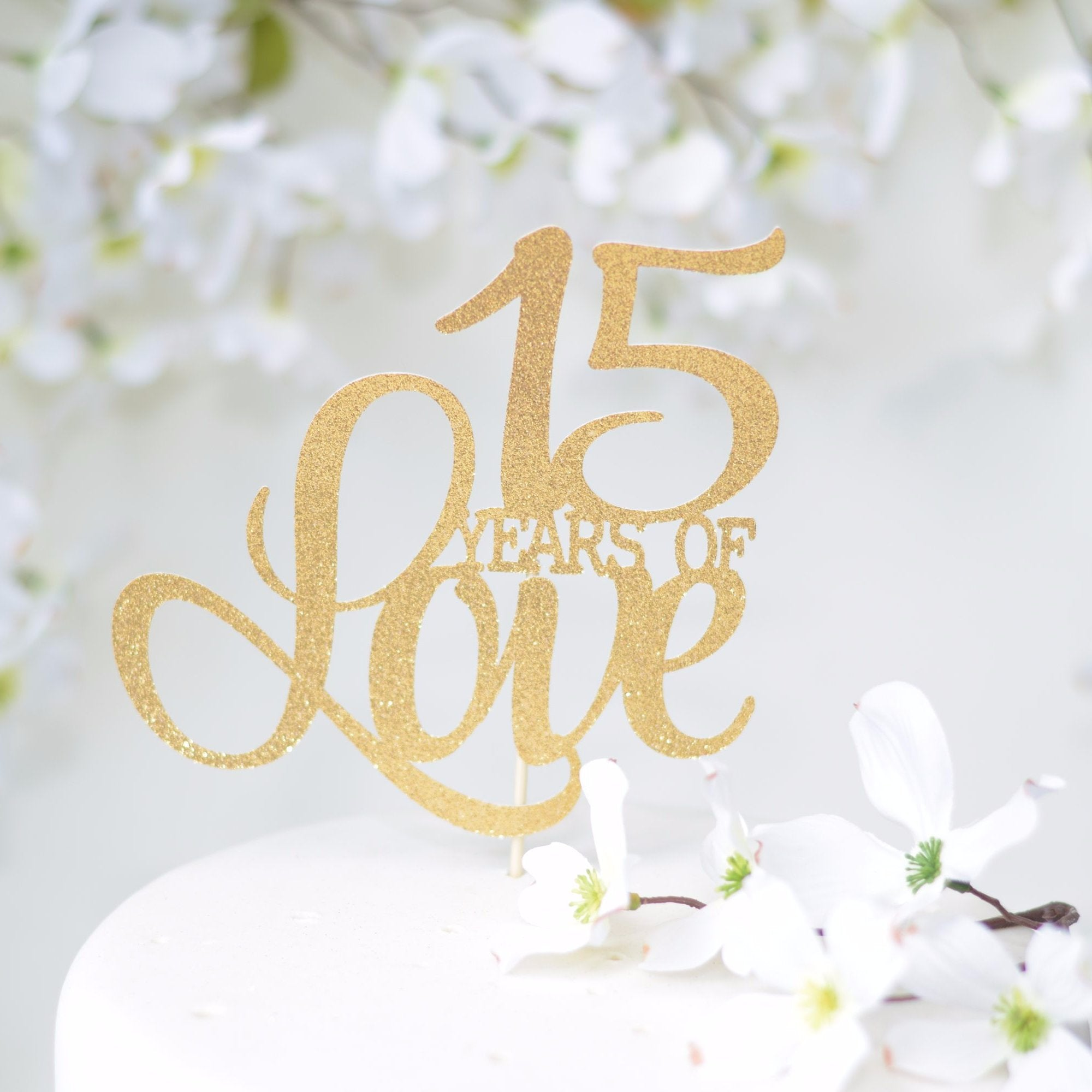 Years Of Love Wedding Anniversary Cake Topper Style 3 - Sugar Crush Co.