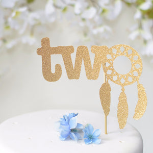 two dream catcher cake topper with gold glitter details