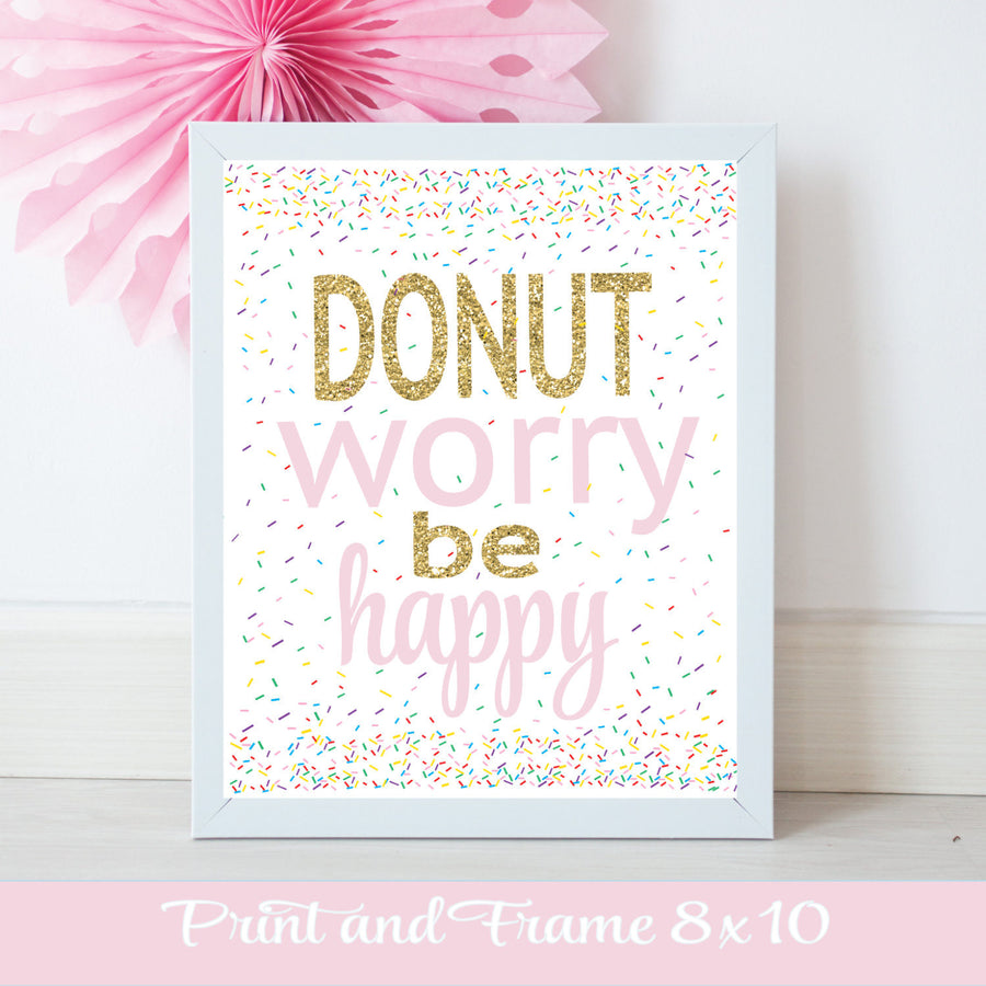 Donut worry be happy pink and gold digital download printable design