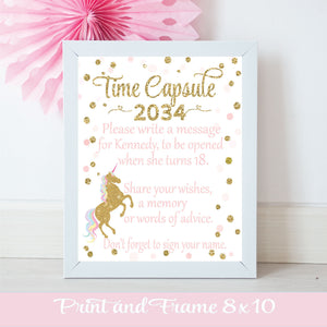 Time Capsule 2034, unique time capsule sign for a unicorn lover's birthday party