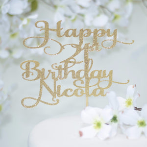 Happy 21st Birthday Nicola gold glitter cake topper