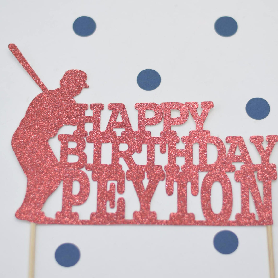 happy birthday peyton red glitter baseball cake topper