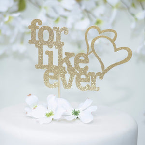 For like ever hearts gold sparkle cake topper