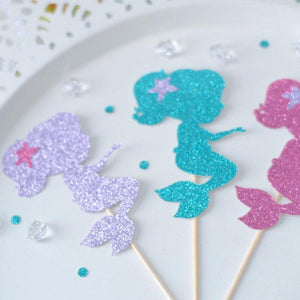 Silver, teal and pink glittery sparkle cupcake toppers